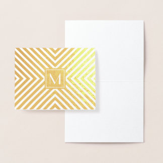 Art Deco Mod Stripes with Monogram Gold Foil Card