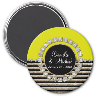 Art Deco Modern Horizontal Stripe Glitter Look 7.5 Cm Round Magnet