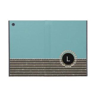 Art Deco Modern Horizontal Stripe Glitter Look Covers For iPad Mini