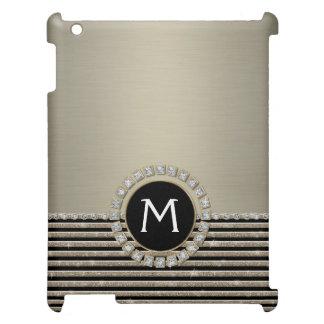 Art Deco Modern Horizontal Stripe Glitter Look iPad Case