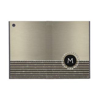 Art Deco Modern Horizontal Stripe Glitter Look iPad Mini Cover