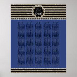 Art Deco Modern Horizontal Stripe Glitter Look Posters