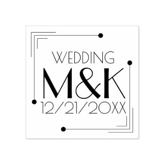 Art Deco Monogram 1920s Wedding Rubber Stamp