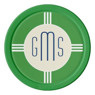 Art Deco Monogram Initials Personalized Poker Chip Poker Chips