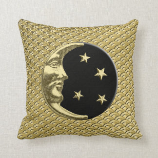 Art Deco Moon and stars - Black and Gold Throw Pillow