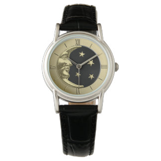 Art Deco Moon and Stars - Black and Gold Watch