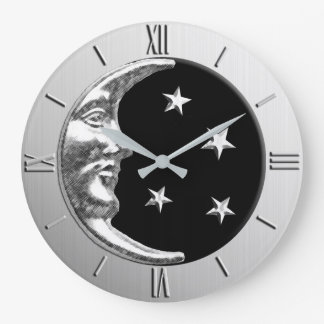 Art Deco Moon and Stars - Black and Silver Large Clock