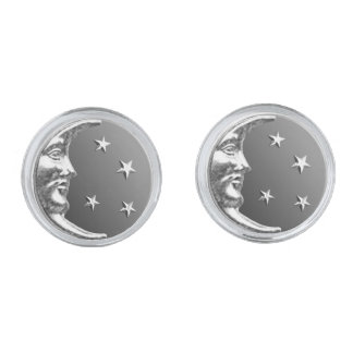 Art Deco Moon and Stars - Grey / Gray and Silver Silver Finish Cufflinks