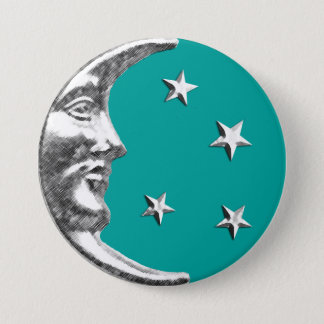 Art Deco Moon and Stars - Turquoise & Silver 7.5 Cm Round Badge