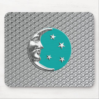 Art Deco Moon and stars - Turquoise & Silver Mouse Pad