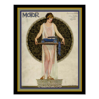 Art Deco Motor Magazine Cover 16 x 20 Poster