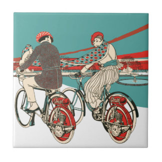 Art Deco Motorcycling Ceramic Tile