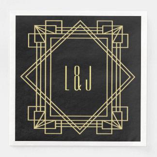 Art Deco Napkins Wedding Monogram Paper Serviettes
