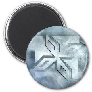 Art Deco Ninja Star Icon on Stone Fridge Magnet