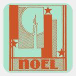 Art Deco Noel Christmas Square Sticker