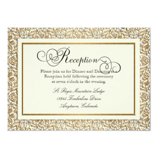 Art Deco Nouveau Faux Gold Floral Damask Lace Card
