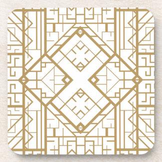 Art deco,nouveau,gold,white,elegant,chic,pattern beverage coasters