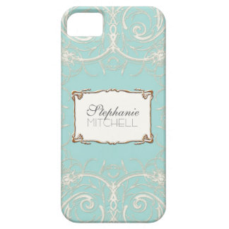 Art Deco Nouveau Lace n Gold Look Personalized iPhone 5 Case