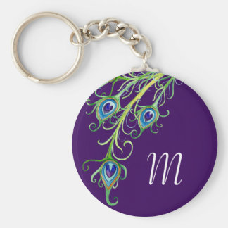 Art Deco Nouveau Style Peacock Feathers Swirl Key Ring