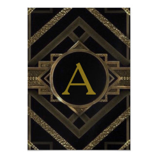 Art deco, nouveau,vintage,black,gold,chic,elegant, card