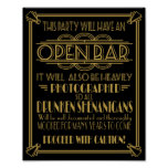 ART Deco Open bar sign for 1920's Gatsby Party Poster