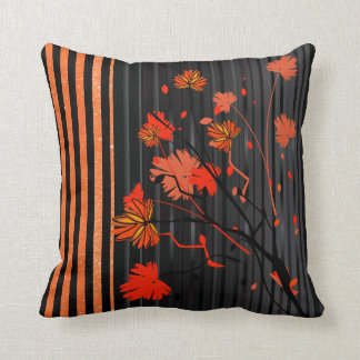 Art Deco Orange Stripe Pattern Throw Pillow