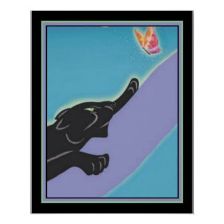 """Art Deco """"Panther & Butterfly"""" 16 x 20 Print"""
