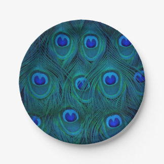 Art Deco  Parisian Teal Green Peacock Feather 7 Inch Paper Plate