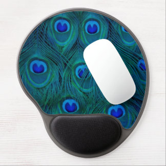 Art Deco  Parisian Teal Green Peacock Feather Gel Mouse Pad