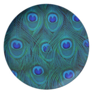 Art Deco  Parisian Teal Green Peacock Feather Plate