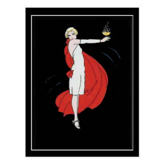 Art Deco Party Girl Vintage Postcard