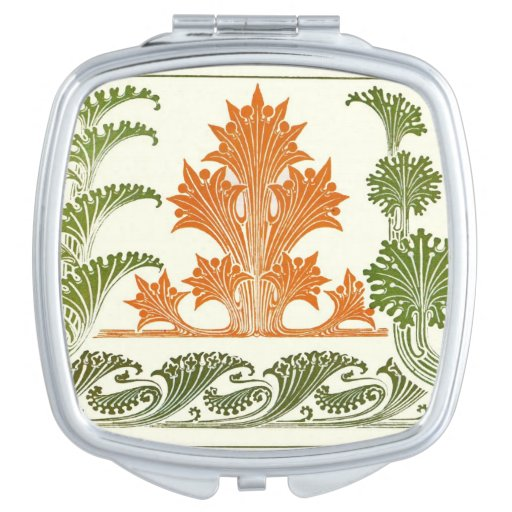 Art Deco Pattern Abstract Floral Orange Moss Green Travel Mirrors