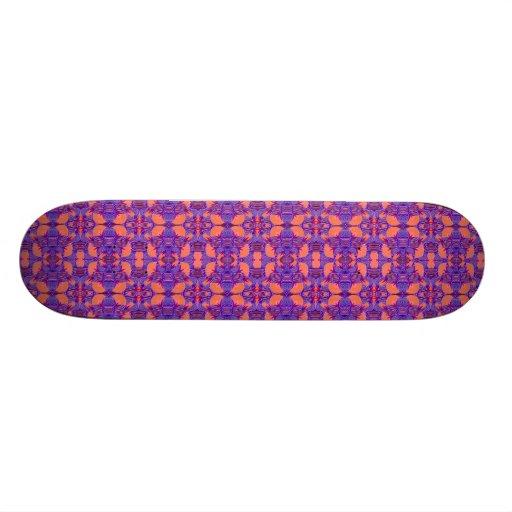 Art Deco Pattern - Bold Purple and Orange Skate Board Decks