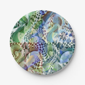 Art Deco pattern - depth and optical illusion Paper Plate