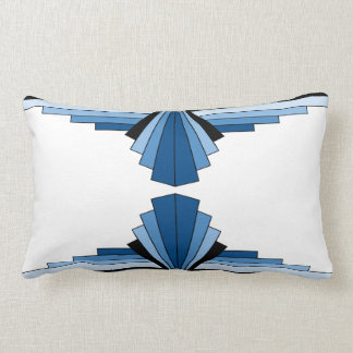 Art Deco Pattern in Blues Lumbar Cushion