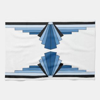 Art Deco Pattern in Blues Tea Towel