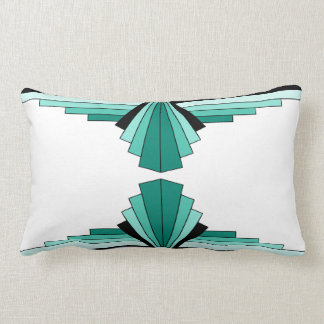 Art Deco Pattern in Greens Lumbar Cushion