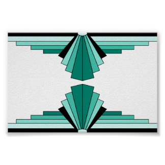 Art Deco Pattern in Greens Poster