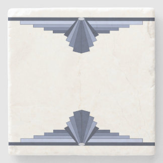 Art Deco Pattern in Grey-Blues Stone Beverage Coaster