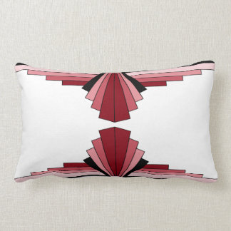 Art Deco Pattern in Reds Lumbar Pillow