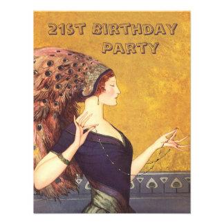Art Deco Peacock Flapper 21st Birthday Party Invitation