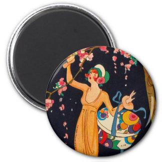Art Deco Picking Flowers Magnet