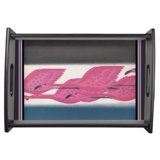 Art Deco Pink Flamingos Serving Tray