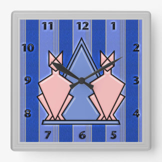 Art Deco Plasticized Cats on Striped Faux Leather Wall Clock