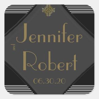Art Deco Posh Wedding Envelope Seal Sticker