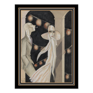 """Art Deco Print """"At the Dance"""" by Dodo 12 x 16"""
