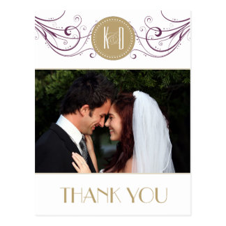 Art Deco purple and taupe Thank you card