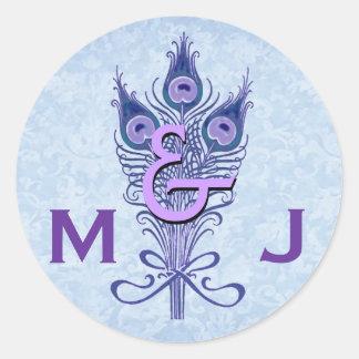 Art Deco Purple Peacock Feathers Monogram Wedding Round Sticker