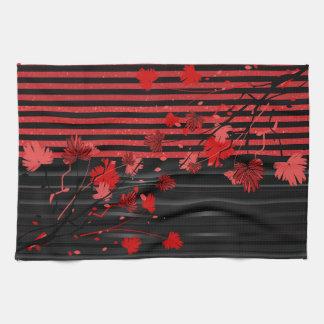 Art Deco Red and Black Floral Tea Towel
