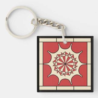 Art Deco Red Splash Double-Sided Square Acrylic Key Ring